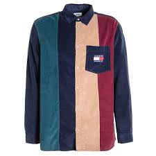 tommy jeans colorblock cord shirt black