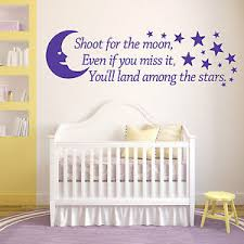 Shoot For The Moon Wall Art Vinyl Sticker Room Quote Bedroom Nursery Decal Ebay