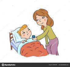 Image result for father sick mother sick child cartoon