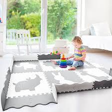 Baby Play Mat With Fence Large 5 X 7 Thick Interlocking Foam Floor Tiles With Safari Animals Neutral Non Toxic Baby Playmat For Infants Toddlers And Kids Grey And White Reviews