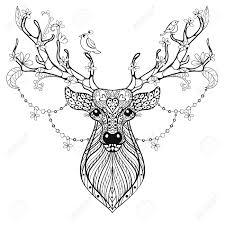 Zentangle Hand Drawn Magic Horned Deer For Adult Antistress