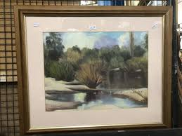 Yvonne West 'Willow Trees by the River' acrylic on canvas, 51.5 x 61.5cm  (frame) signed lower left
