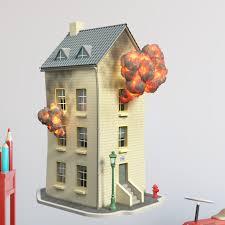 Zoomie Kids House On Fire Wall Decal Wayfair