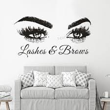 Lashes And Brows Logo Vinyl Wall Decal Beauty Salon Window Poster Eyelash Eyebrows Wall Sticker Make Up Studio Decor Az872 Wall Stickers Aliexpress