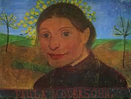 Modersohn-Becker, Paula: Selbstporträt vor blühenden Bäumen - Zeno.org