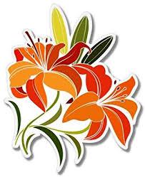 Amazon Com Carframes18 Lily Flowers Vinyl Sticker Car Window Bumper Laptop Bumper Sticker Decal Automotive