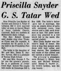 CORNWALL - GEORGE TATAR MARRIES PRISCILLA SNYDER - Newspapers.com