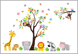 Sweet Elephant Bright Colored Jungle Wall Decal Nursery Room Decor Nurserydecals4you