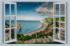Beach House Window View Wallpaper Peel And Stick Etsy Window View View Wallpaper Views