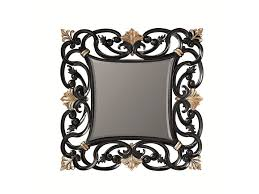 square framed wooden mirror dahlia by