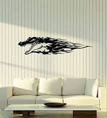 Amazon Com Vinyl Wall Decal Crocodile Tribal Animal Abstract Alligator Stickers Mural Large Decor G1703 Black Home Kitchen