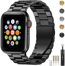 Amazon.com: Fitlink Stainless Steel Metal Band for Apple Watch  38/40/42/44mm Strap Replacement Link Bracelet Band Compatible with Apple  Watch Series 6 Apple Watch Series 5 Apple Watch Series  1/2/3/4(Black,38/40mm)