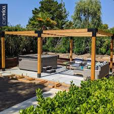 Double Pergola Kit For 6x6 Wood Posts With Knect 2x6 Rafter Brackets Toja Grid Toja Grid In 2020 Pergola Pergola Kits Diy Pergola Kits