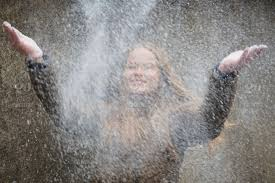 Throwing snow portrait Ida Young woman stock photo 7d695dd1 ...