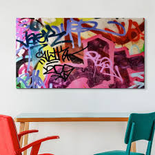 Colorful Graffiti Art In Contemporary Kids Room Make A Colorful Statement With Large Graffiti Art Grafitti Art Pink Abstract Art Graffiti Art Kids Art Decor