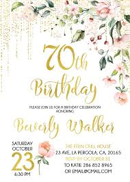 70th Birthday Invitation Floral Invitation Age Women Birthday