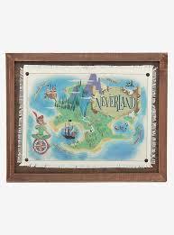 Disney Peter Pan Neverland Map Framed Wood Wall Decor