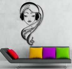 Wall Stickers Vinyl Decal Beautiful Girl In Headphones Music Lover Ig541 For Sale Online