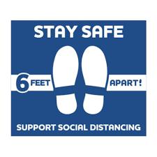 Stay Safe Social Distancing Vinyl Floor Decals 12 X 14