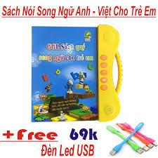 Sách Nói Điện Tử Song Ngữ Anh - Việt Cho Trẻ Giúp Trẻ Học Tốt Tiếng Anh Mới  2018 + Tặng Thêm Đèn Led USB