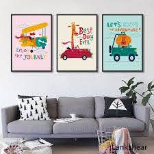 Wall Art Nordic Small Car Canvas Painting Kids Room Decor Nursery Cuadros Decoracion Canvas Art Painting Posters And Prints Painting Calligraphy Aliexpress