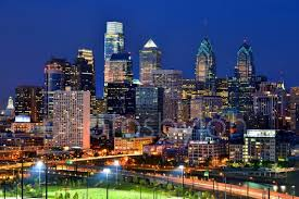 Canvas Philadelphia Skyline At Night Color Or Bw Philly Etsy