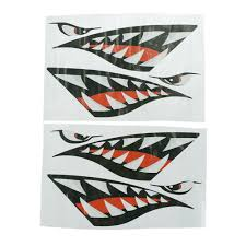 2 Pcs Shark Teeth Vinyl Decal Stickers For Dinghy Boat Kayak Cano C Bl Ebay