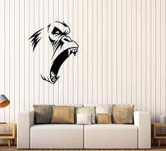 Amazon Com Vinyl Wall Decal Evil Gorilla Monkey Animal Fangs Stickers 3638ig Home Kitchen