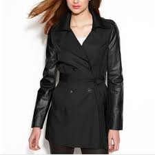 faux leather sleeve trench