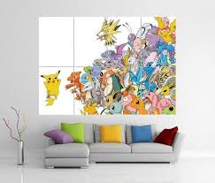 Pokemon Pikachu Giant Wall Art Picture Poster Giant Wall Art Pokemon Wall Decals Pokemon Room