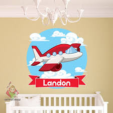 Personalized Airplane Name Wall Decal Nursery Wall Decal Etsy
