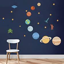 Amazon Com Decalmile Planets In The Space Wall Decals Solar System Kids Wall Stickers Peel And Stick Removable Vinyl Wall Art For Kids Bedroom Nursery Baby Room Classroom Baby