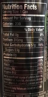 redline energy drink nutrition facts