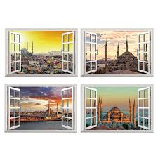 Mosque Wall Sticker Window View City Wall Decals Cityscape Art Vinyl Wallpaper Home Living Room Bedroom Office Decor Wall Stickers Aliexpress