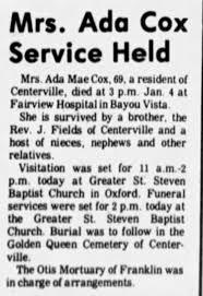 Obituary for Ada Mae Cox (Aged 69) - Newspapers.com