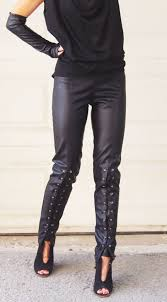 black faux leather leggings extra long