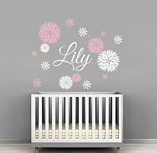 Amazon Com Custom Flowers Name Wall Decal Girls Kids Room Decor Nursery Wall Decals Flower Decals For Girls Room 30wx24h Baby
