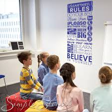 Classroom Rules Wall Decal Stencil Sign Removable Wall Stickers For Class