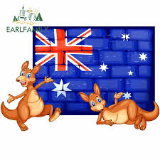 Earlfamily 13cm X 8 6cm For Two Kangaroo And Flag Of Australia Car Decal Waterproof Scratch Proof Car Sticker Personality Car Stickers Aliexpress