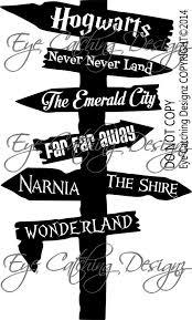 Hogwarts Narnia Neverland Storybook Signpost Children Wall Sticker Wonderla