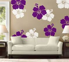 Hibiscus Flower Wall Decal Large Wall Flower Hawaiian Etsy Diy Wall Painting Large Wall Flowers Wall Design