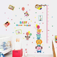 Cartoon Stickers For Kids Children Room Wall Stickers Measurement Baby Kindergarten Colorful Animals And Cats Tree Photo Black Wall Stickers Black Wall Stickers For Bedrooms From Valnur 3 97 Dhgate Com