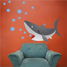 Kids Shark Room Wall Decal Sea Life Mural Ocean Animal Removable Bubbl American Wall Designs
