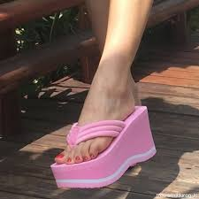 New Women Beach Flip Flops Soild Wedge Platform Shoes Summer ...