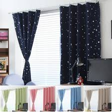 Thermal Insulated Curtains Blackout Window Curtain Panels Eyelet Hooks Stars Curtains For Kids Bedroom Blue Pink Green Walmart Com Walmart Com