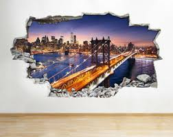 Wall Stickers New York City Scene Nyc Night Sunset Decal Poster 3d Art Viny A155 Ebay
