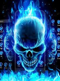 3d blue flaming skull theme launcher