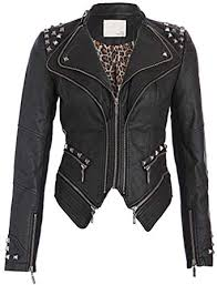 womens black faux leather moto biker