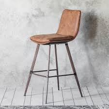 tan leather bar stool with back rest