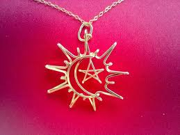 sun moon star necklace in silver or